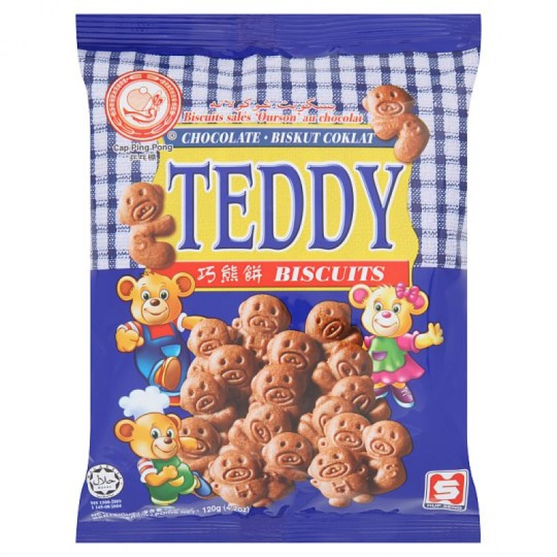 CAP PING PONG TEDDY CHOCOLATE BISCUITS 120G